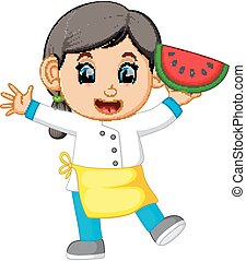 a female chef holding watermelon