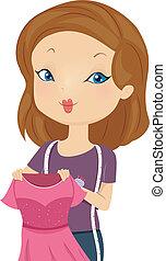 Illustration of a Female Fashion Designer Holding a Pink Dress