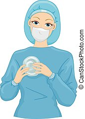 Silicone Implant - Illustration of a Female Surgeon Holding...