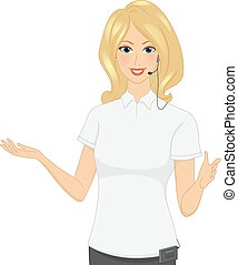 Tour Guide - Illustration of a Female Tour Guide Doing Hand...