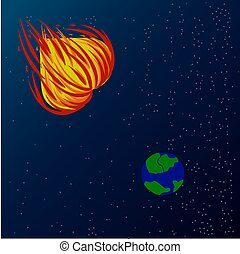 Illustration of a fiery heart flying to the ground to destroy the hatred of each other