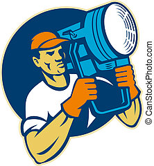 film lighting crew holding a spotlight - illustration of a ...