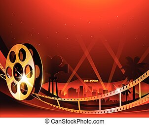 Illustration of a film stripe reel on shiny red movie background