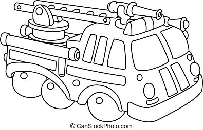 fire engine outlined - illustration of a fire engine ...