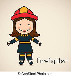 firefighter icon - Illustration of a firefighter with suit,...