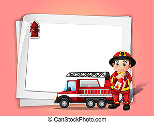 Illustration of a fireman holding a fire extinguisher beside...
