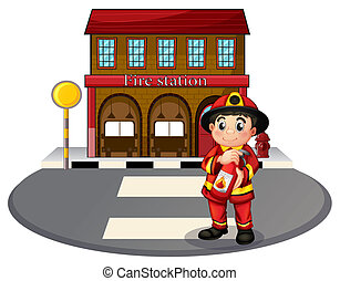 Illustration of a fireman holding a fire extinguisher in front of the fire station on a white background