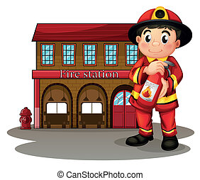 Illustration of a fireman in front of a fire station holding...