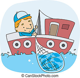 Fisherman - Illustration of a Fisherman at Work