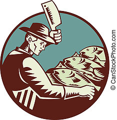 fishmonger butcher with meat cleaver knife chopping fish viewed from side set inside circle done in retro woodcut style.