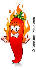 Illustration of a Flaming Super Hot Chili Character