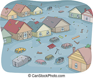 Flooded City - Illustration of a Flooded City with Partially...