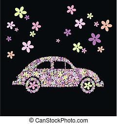 flower car - illustration of a flower car