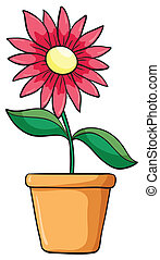 a flower plant in a pot - illustration of a flower plant in ...