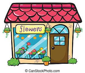 a flower shop - illustration of a flower shop on a white...