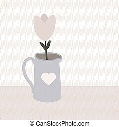 Illustration of a flower tulip in a pot.