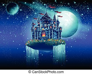 Illustration of a flying castle space with waterfalls on the background of stars and planets
