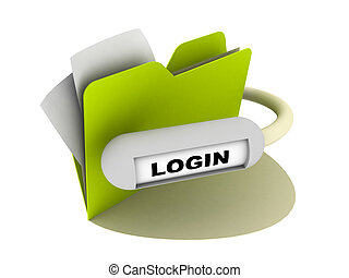 login button - illustration of a folder with login button