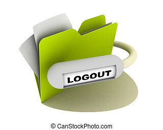 logout button - illustration of a folder with logout button