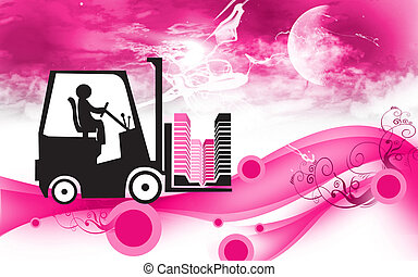 fork lifter - Illustration of a fork lifter driving with...