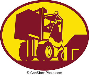 forklift operator operating forklift truck - Illustration of...