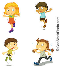 a four kids - illustration of a four kids on a white ...