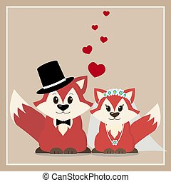 Illustration of a fox marry in a cartoon style.