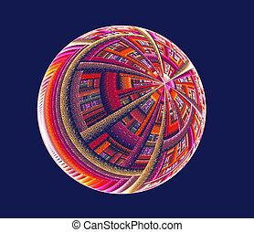 illustration of a fractal background ball ornament
