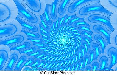 illustration of a fractal background blue spiral ornament