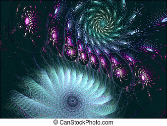 illustration of a fractal background with floral ornament...