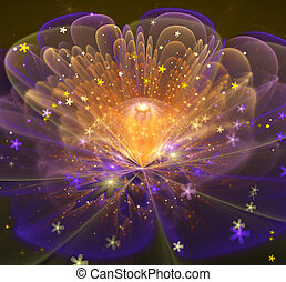 illustration of a fractal fantastic bright shiny flower