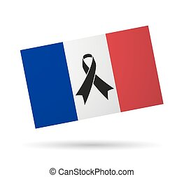 France flag with a black ribbon