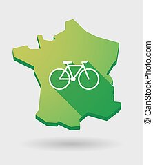 France green map icon with a bicycle