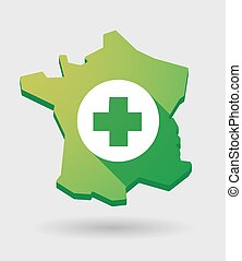 France green map icon with a pharmacy sign
