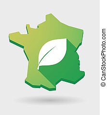 France green map icon with a plant