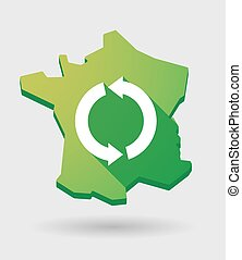 France green map icon with a recycle sign