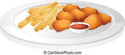 french fries, cutlet and sauce - illustration of a french ...