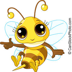 Cute Bee Showing - Illustration of a Friendly Cute Bee ...