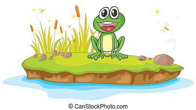 a frog and water