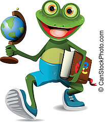 frog student - illustration of a frog student with a globe...