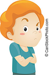 Illustration of a Frowning Grumpy Little Kid Boy