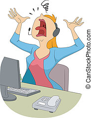 Illustration of a Frustrated Girl Freaking Out and Shouting at the Top of Her Lungs