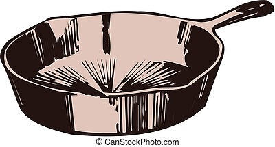 Illustration of a frying pan on a white background