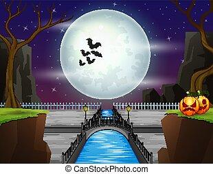 Illustration of a full moon background on the Halloween night