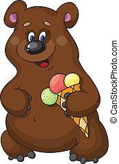 funny bear and ice cream