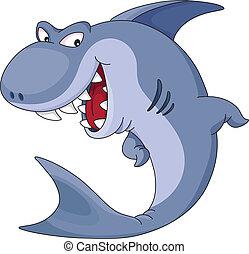 shark - illustration of a funny blue shark