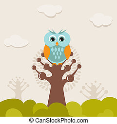 illustration of a funny character owl
