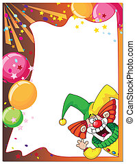 funny clown card - illustration of a funny clown card
