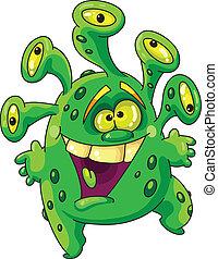 funny green monster - Illustration of a funny green monster
