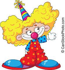 funny kid clown - illustration of a funny kid clown